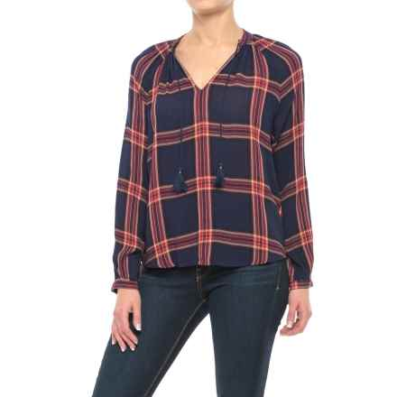 Lucky Brand Woven Plaid Shirt - Long Sleeve (For Women) in Navy Multi - Closeouts