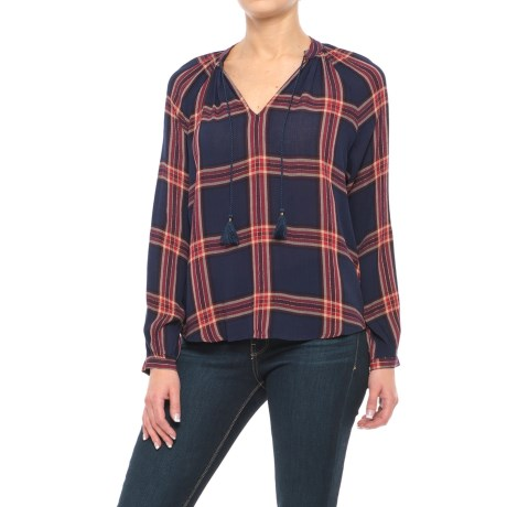 Lucky Brand Woven Plaid Shirt - Long Sleeve (For Women) in Navy Multi