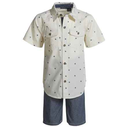 Lucky Brand Woven Shirt and Shorts Set - Short Sleeve (For Boys) in Natural/Blue - Closeouts