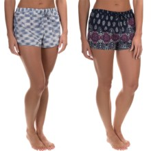 Lucky Brand Woven Sleep Boxers - 2-Pack, Cotton (For Women) in Blue Plaid - Closeouts