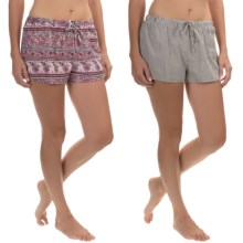 Lucky Brand Woven Sleep Boxers - 2-Pack, Cotton (For Women) in Blur Watercolor - Closeouts