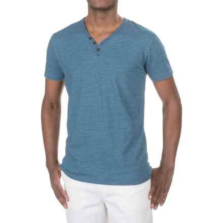 Lucky Brand Y-Neck T-Shirt - Short Sleeve (For Men) in Indigo - Closeouts
