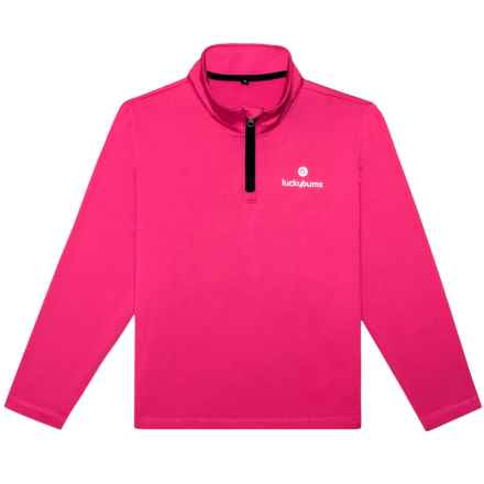 Lucky Bums High-Performance Fleece Shirt - Zip Neck, Long Sleeve (For Girls) in Pink - Closeouts