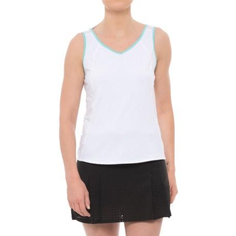 Lucky in Love Desert Shore Jane Sweet Tank Top - UPF 30+ (For Women) in White/Turquoise