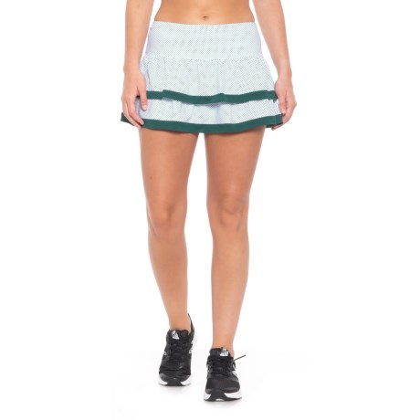 Lucky in Love Green with Envy Dot to Dot Border Tier Skirt - UPF 30+ (For Women) in White/Green