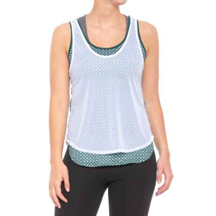 Lucky in Love Green with Envy Fresh Mesh Tank Top - UPF 30+ (For Women) in White - Closeouts