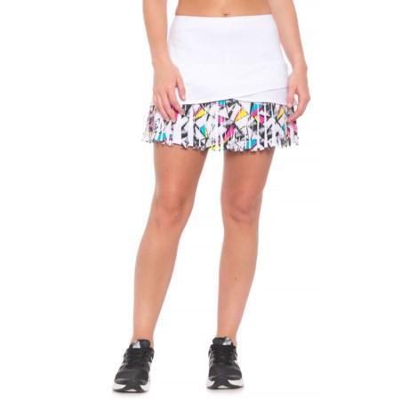 Lucky in Love Long Shape-Up Fringe Scallop Skort - UPF 30+ (For Women) in White