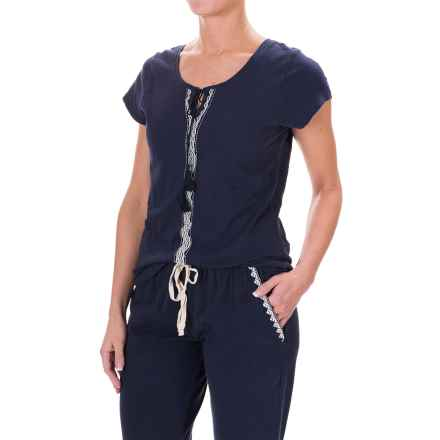 Lucky Sleepwear Embroidered Pajama Shirt - Short Sleeve (For Women) in Navy - Closeouts
