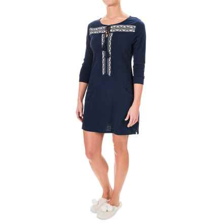 Lucky Sleepwear Embroidered Tunic Pajama Shirt - Long Sleeve (For Women) in Navy - Closeouts