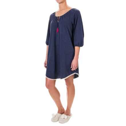Lucky Sleepwear Jersey-Knit Tasseled Sleep Shirt - 3/4 Sleeve (For Women) in Indigo - Closeouts