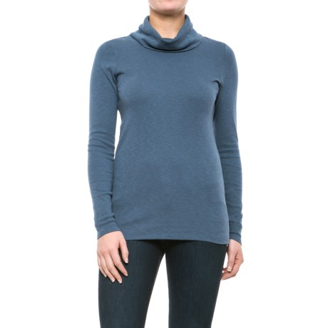 Lucy & Laurel Cowl Neck Slub Shirt - Long Sleeve (For Women) in Faded Denim