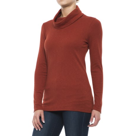 Lucy & Laurel Cowl Neck Slub Shirt - Long Sleeve (For Women) in Rusted