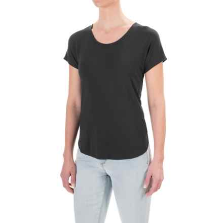 Lucy & Laurel Dolman Shirt - Stretch Modal, Short Sleeve (For Women) in Black - Closeouts