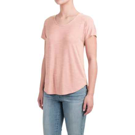 Lucy & Laurel Dolman Shirt - Stretch Modal, Short Sleeve (For Women) in Soft Coral Heather - Closeouts