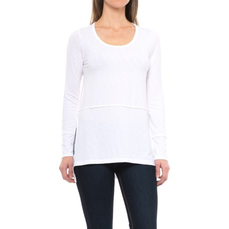 Lucy & Laurel High-Low Shirt - Long Sleeve (For Women) in White