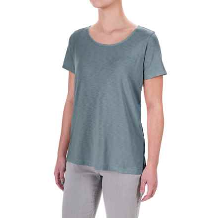 Lucy & Laurel High-Low Slub Jersey T-Shirt - Modal-Cotton, Short Sleeve (For Women) in Muted Forest - Overstock