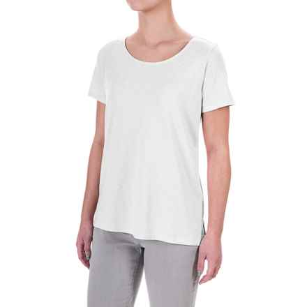 Lucy & Laurel High-Low Slub Jersey T-Shirt - Modal-Cotton, Short Sleeve (For Women) in White - Overstock