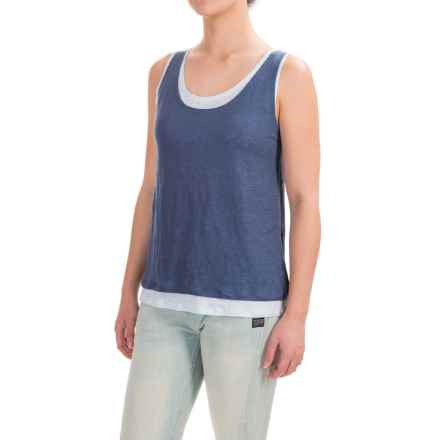 Lucy & Laurel Linen Double-Layer Tank Top (For Women) in Faded Denim/Shy Blue - Closeouts