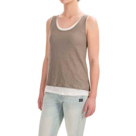 Lucy & Laurel Linen Double-Layer Tank Top (For Women) in Leafy Green/Salt - Closeouts