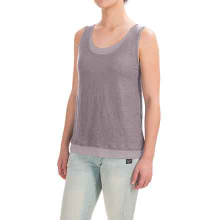 Lucy & Laurel Linen Double-Layer Tank Top (For Women) in Volcanic/ Dusty Lilac - Closeouts