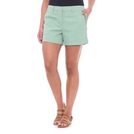 "Lucy & Laurel Mesh-Trimmed Shorts - 3"" (For Women) in Mineral Green"