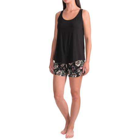 Lucy & Laurel Racerback Tank Top with Printed Shorts - 2-Piece Set (For Women) in Black/Gianna Floral Deep