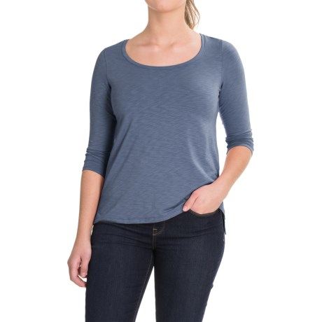 Lucy & Laurel Side-Slit Shirt - 3/4 Sleeve (For Women) in Faded Denim