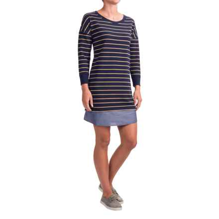 Lucy & Laurel Striped French Terry Dress - 3/4 Sleeve (For Women) in Navy/Mustard - Closeouts