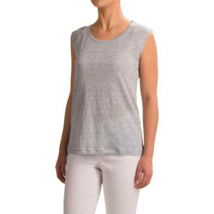 Lucy & Laurel Striped Shirt - Linen, Sleeveless (For Women) in Blue Heather/Raw White - Closeouts
