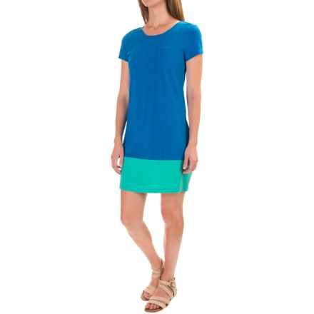 Lucy & Laurel Vintage Slub Pocket T-Shirt Dress - Short Sleeve (For Women) in Blue Skies/Turquoise - Closeouts