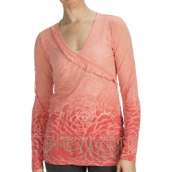 lucy Blooming Lotus Burnout Shirt - Long Sleeve (For Women) in Coral Haze Hip Dye