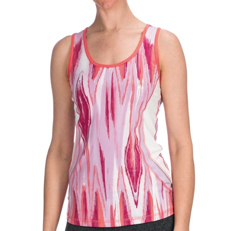 lucy Endurance Tank Top - UPF 30 (For Women) in Festival Fuchsia Ikat Print