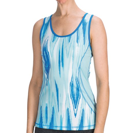 lucy Endurance Tank Top - UPF 30 (For Women) in Porcelain Blue Ikat Print