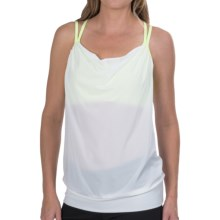 lucy Feel The Beat Singlet - Built-In Sports Bra (For Women) in Lucy White/Light Key Lime Neon - Closeouts