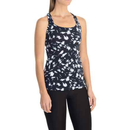 lucy Fitness Fix Tank Top - Built-In Bra (For Women) in Navy/White Ink Print - Closeouts