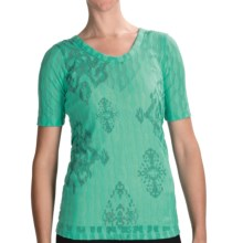 lucy Meditation Burnout T-Shirt - Scoop Neck, Short Sleeve (For Women) in Atlantis/Medal - Closeouts