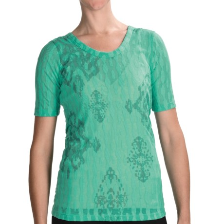 lucy Meditation Burnout T-Shirt - Scoop Neck, Short Sleeve (For Women) in Atlantis/Medal