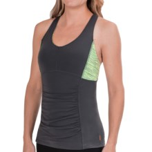 lucy Perfect Core Halter Top (For Women) in Fossil/Light Key Lime Neon Spacedye Stripe - Closeouts