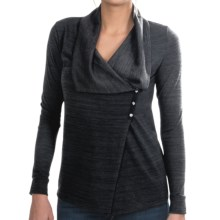 lucy Snow Fall Drape Neck Cardigan Sweater (For Women) in Lucy Black Heather - Closeouts