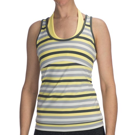 lucy Spin Fusion Tank Top - Built-In Bra (For Women) in Aster Blue Stripe