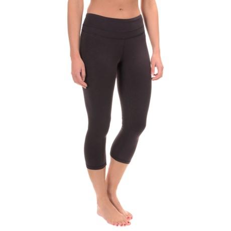 lucy Studio Hatha Capri Leggings (For Women) in Fig/Lucy Black Heather