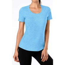 Lucy Workout T-Shirt - Short Sleeve (For Women) in Aster Blue Heather - Closeouts