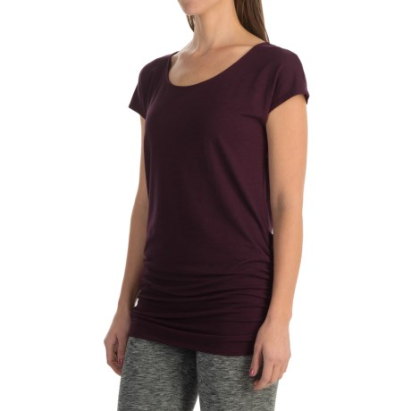 lucy Yoga Girl Tunic Shirt - Scoop Neck, Short Sleeve (For Women) in Wild Plum Heather