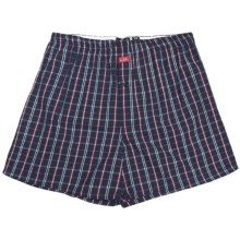 Luk Cotton Plaid Boxer Shorts - Underwear (For Men) in Navy/Red/White - Closeouts
