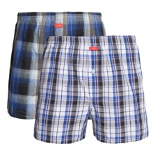 Luk Woven Plaid Boxers - 2-Pack (For Men) in Blue/Black - Closeouts