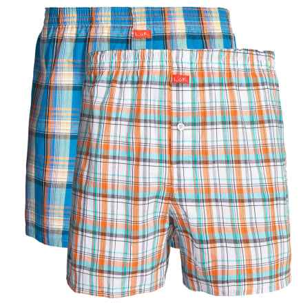 Luk Woven Plaid Boxers - 2-Pack (For Men) in Orange/Blue - Closeouts