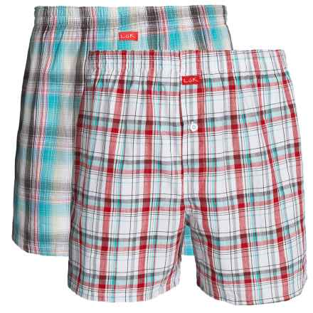 Luk Woven Plaid Boxers - 2-Pack (For Men) in Red/Teal - Closeouts