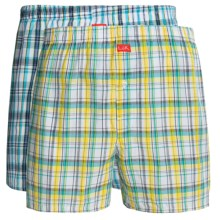Luk Woven Plaid Boxers - 2-Pack (For Men) in Yellow/White/Turquoise - Closeouts
