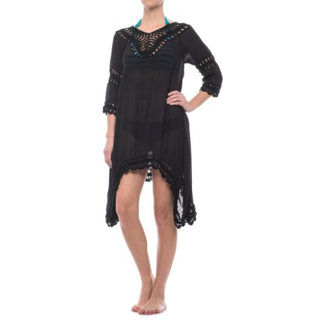 Lula Crochet Beach Cover-Up - 3/4 Sleeve (For Women) in Black