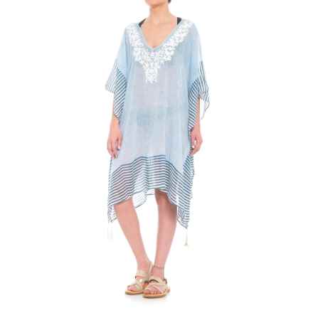 Lula Embroidered Beach Cover-Up - Elbow Sleeve (For Women) in Blue - Closeouts